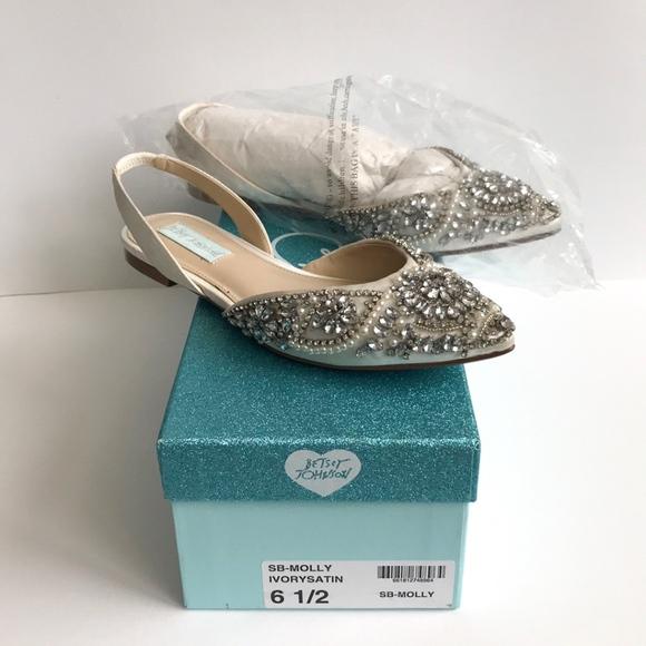 b25d977914ae4 Betsey Johnson Shoes   Molly Slingback Satin Flats   Poshmark